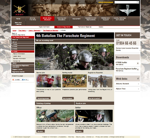 Army MOD 4 PARA Web Site Front Page