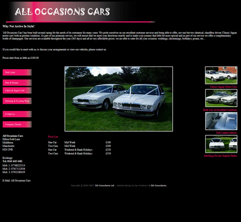 All Occasions Cars Web Site Front Page