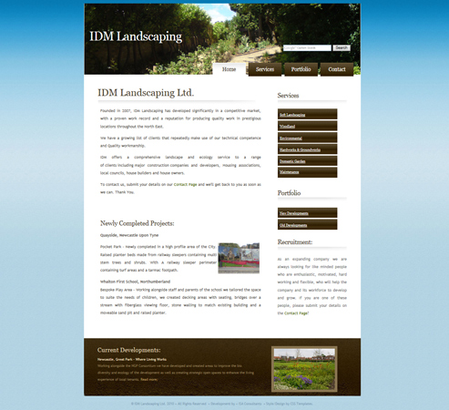 IDM Landscaping Web Site Front Page