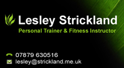 Lesley Strickland PT & Fitness Instructor Business Card
