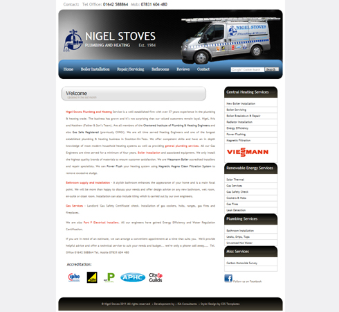 Nigel Stoves Plumbing & Heating Web Site Front Page