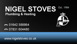 Nigel Stoves Plumbing Business Card