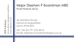 Stephen Boardman MBE Business Card